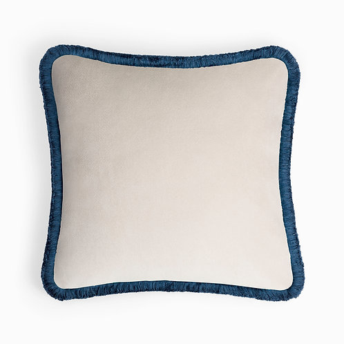 Happy Pillow | Dirty white and blue