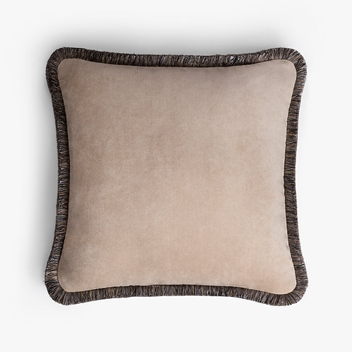 Happy Pillow   Beige and grey
