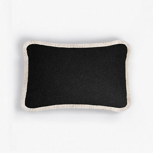 WOOL Happy Pillow | Black and white