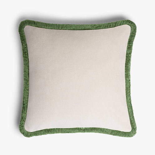 Happy Pillow   Dirty white and Green