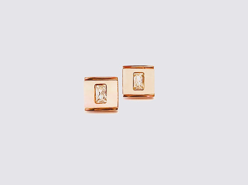 Eye square Mother of Pear stud earrings Rose Gold