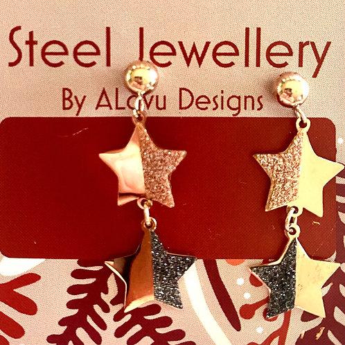 Xmas steel star drop earrings