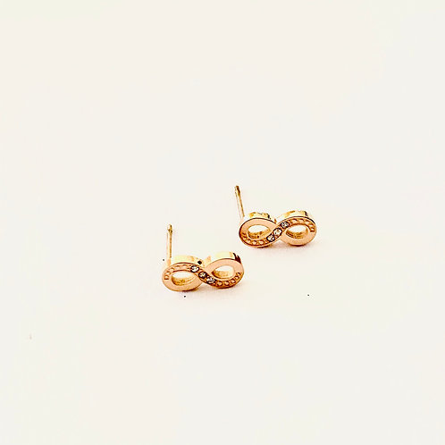 Infinity crystal steel studs (Rose Gold or Silver)