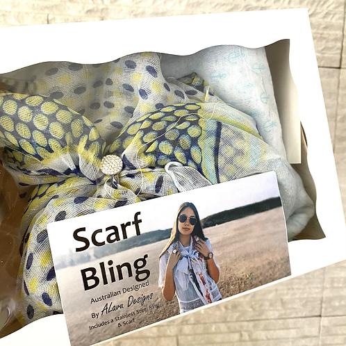 Crystal Steel Ring  Scarf Bling box (choose scarf)