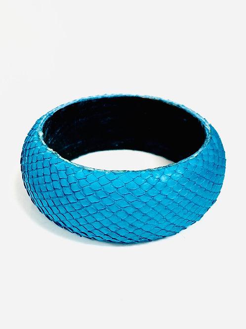Turquoise snake leather bangle