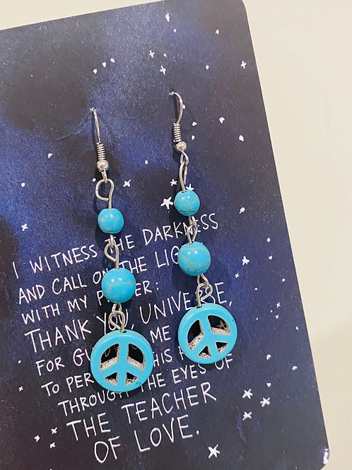 Turq peace whimsical earrings