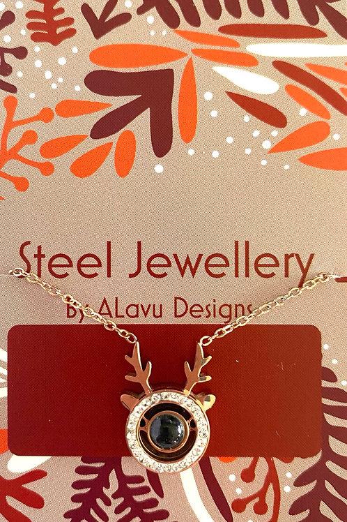 Xmas Reindeer steel necklace