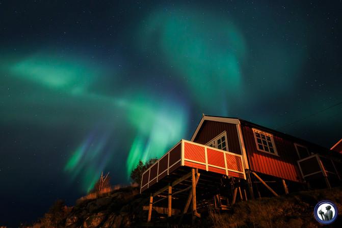 Aurora über Fischerhütte in Hamnøya