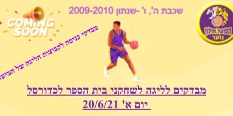 """מבדקים לליגה לשחקני בי""""ס לכדורסל שכבת ה', ו' ( ילידי 2009-2010 ) , ביום א, בתאריך 20/6/21, בשעות 18.15-19.00"""