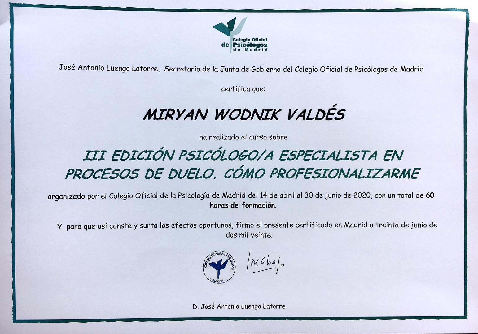Certificado de Escuela de Psicología