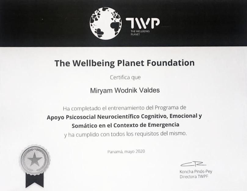 Certificado de apoyo psicosocial neurocientífico cognitivo, emocional y semántico en el contexto de emergencia