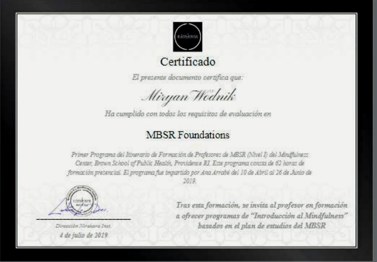 MBSR Foundation Diploma