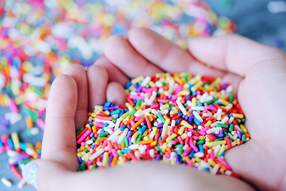 a handful of colours sugar sprinkles