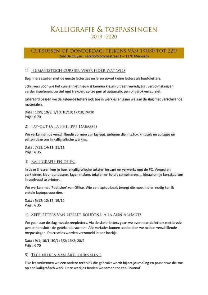 Cursusaanbod 2019- 2020                      Ann Arnauts Merksem (B)