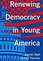 Book cover seen with the title: Renewing Democracy in Young America.  Red, white and blue colors over a drawing of the U.S. Capitol building.