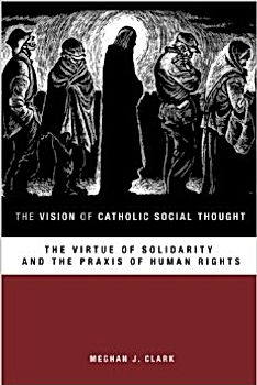 A red book cover is seen with a black&white woodcut image of a person with a halo walking amidst other people.
