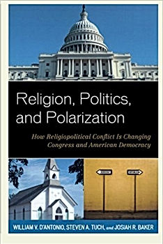 A book cover shows the U.S. Capitol building, a small white church an the entrance to a voting area.