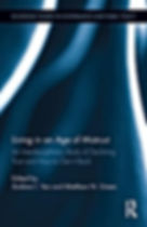 Book cover seen with abstracted blue design with white beams of light and dark recesses.
