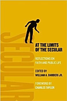 """A yellow book cover shows an illustration of a man standing on the edge of the letter E in the word """"secular"""" as he peers below."""