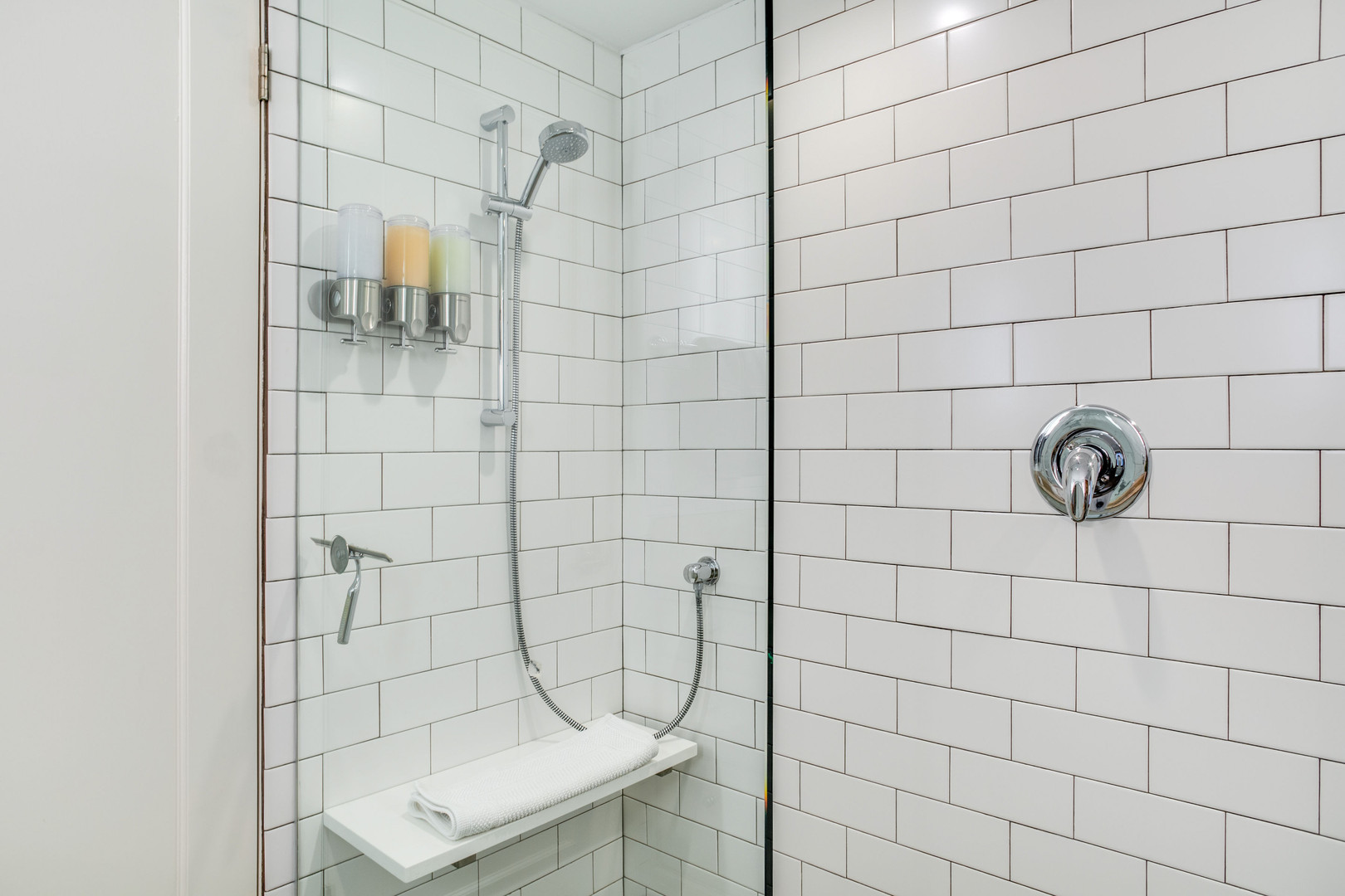 Walk-in Shower with Heated Floors