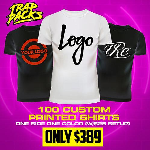 100 Custom Printed T-Shirts w/ $25 setup Fee