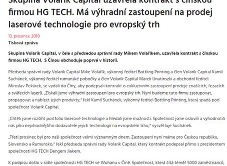 Skupina Volarik Capital uzavřela kontrakt s čínskou firmou HG TECH