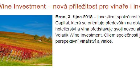 Volarik Wine Investment – nová příležitost pro vinaře i investory
