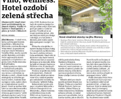 Víno, wellness. Hotel ozdobí zelená střecha