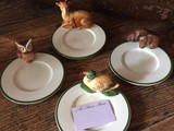 Collection animaux faience peint main Assiette PM/Small plate animal on side