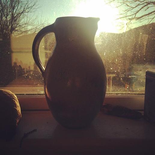 Pitcher sunrise._._._#clay #pottery #pot