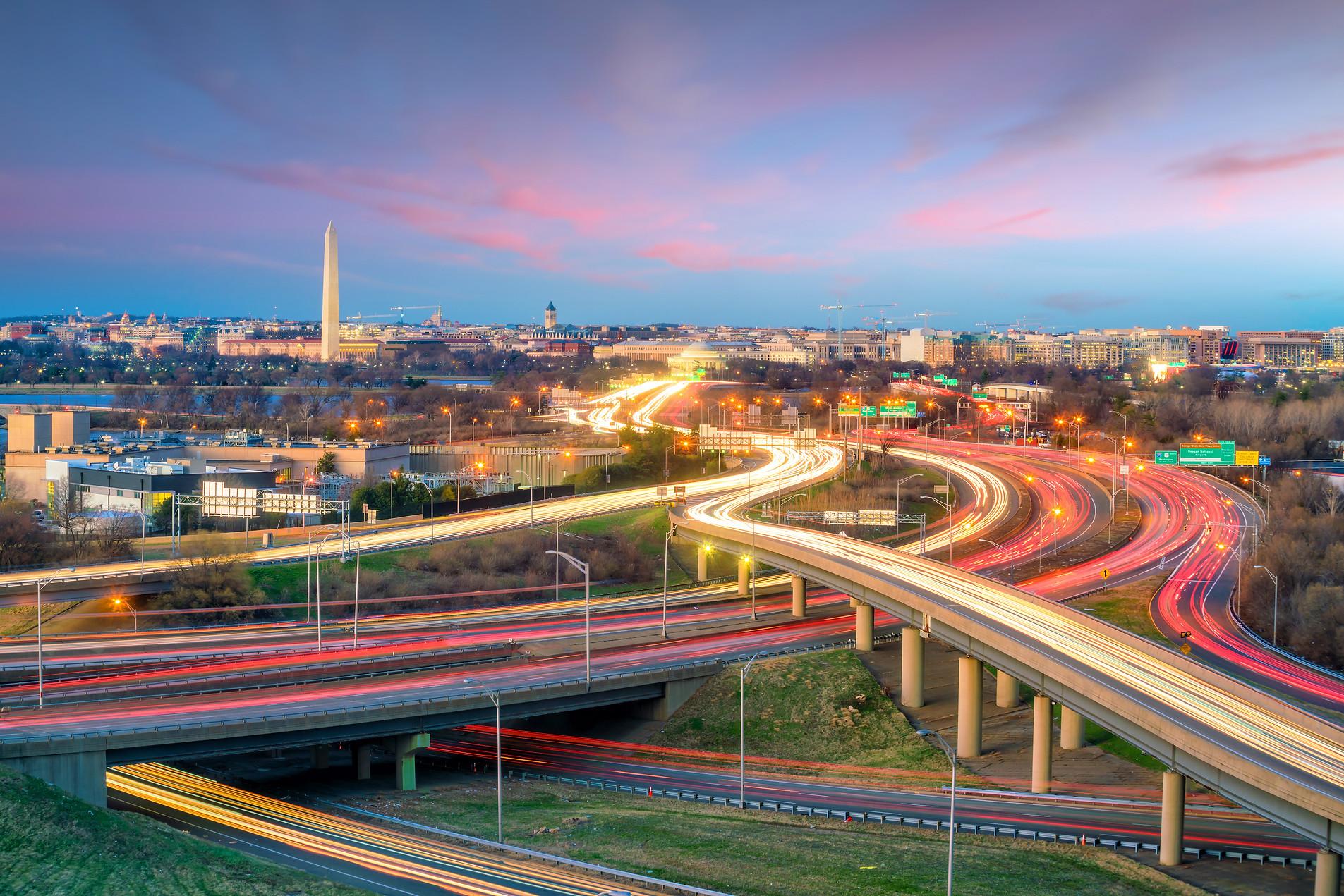 Washington, D.C. city skyline at twiligh