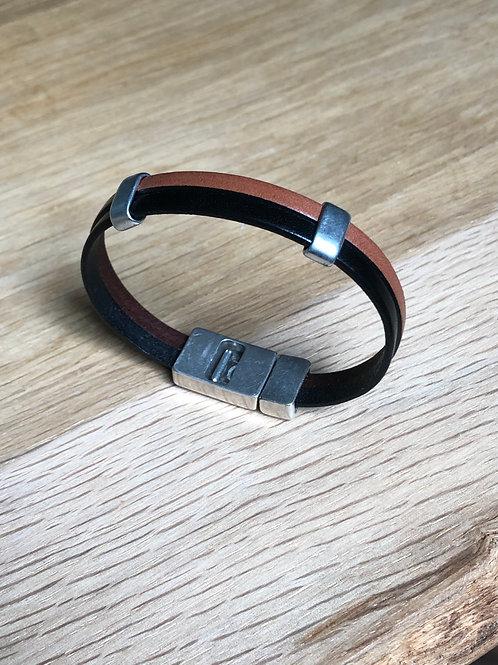 Bracelet cuir 2 lanières noir/camel