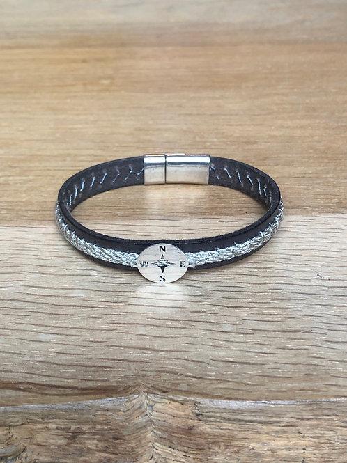 Bracelet cuir de veau marin gris