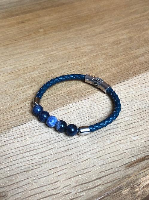 Bracelet cuir de chèvre rond et perles