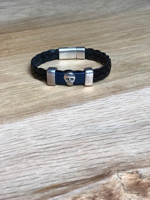 Bracelet cuir tête de mort noir