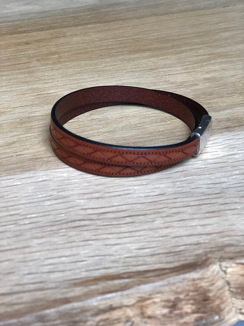 Bracelet cuir de veau double tour marron