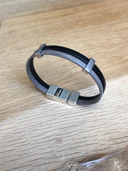 Bracelet cuir 2 lanières noir/gris
