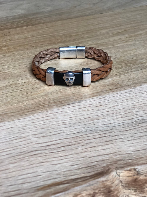 Bracelet cuir tête de mort marron