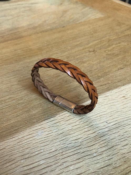 Bracelet tressé cuir de veau camel