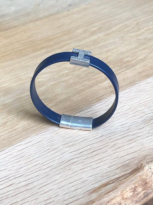 Bracelet cuir H bleu