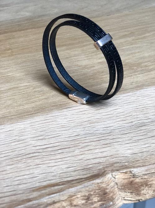 Bracelet cuir de veau double tour bleu marine