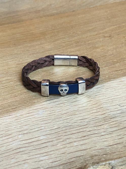 Bracelet cuir tête de mort marron foncé