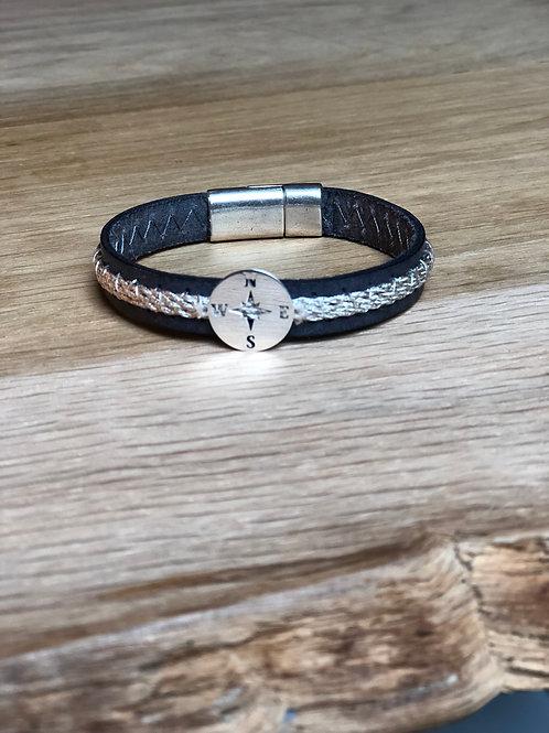 Bracelet cuir de veau marin bleu marine