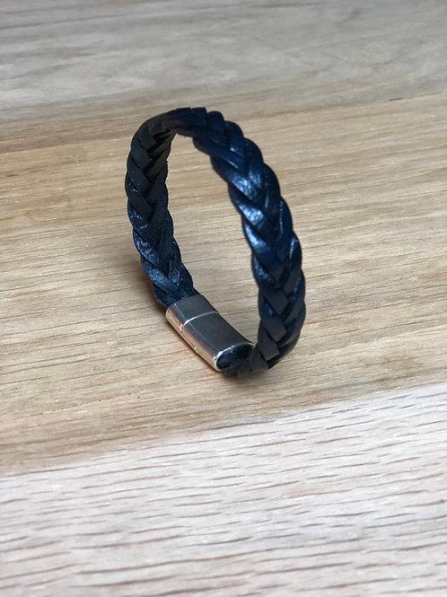 Bracelet tressé cuir de veau bleu marine