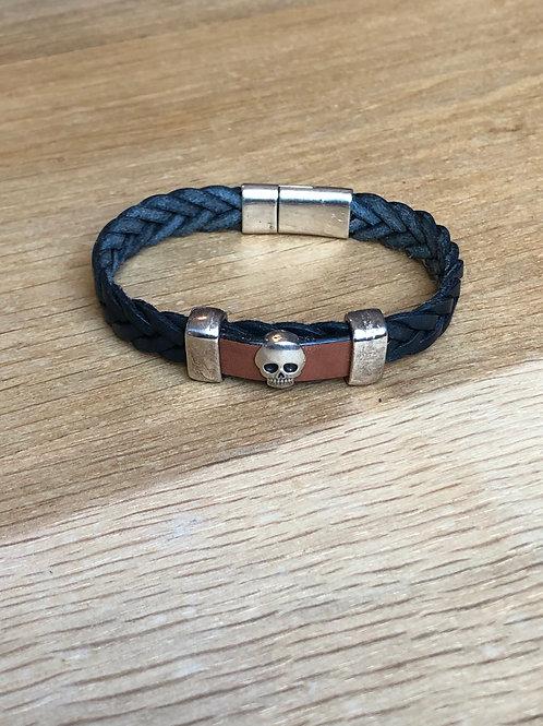 Bracelet cuir tête de mort bleu marine