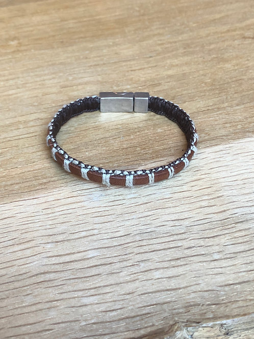 Bracelet cuir macramé marron