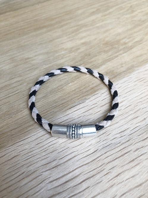 Bracelet cuir de veau rond bicolor