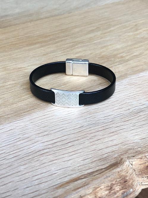 Bracelet cuir de veau éthnique noir