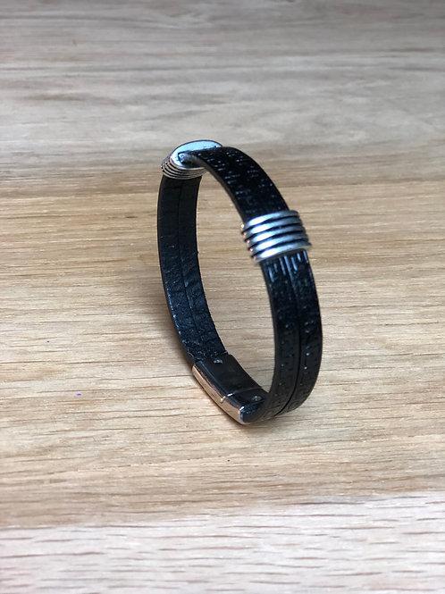 Bracelet cuir de veau 2 rangs noir