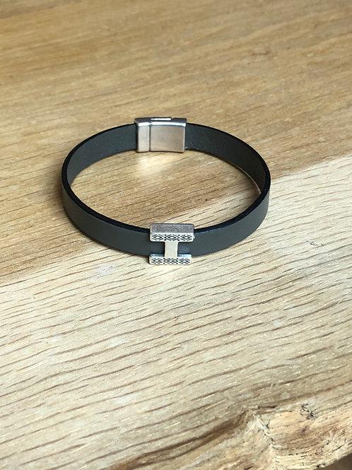 Bracelet cuir H kaki clair